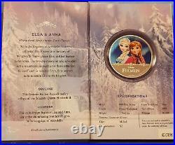 1 Oz Feinsilber 2$ Dollar NIUE 2016 Disney Frozen Anna & Elsa Proof / RAR
