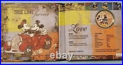 1 Oz Feinsilber 2 $ Dollar NIUE 2017 Disney Mickey´s True Love forever PP/RAR