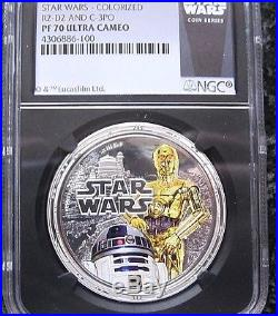 2011 STAR WARS R2-D2 and C-3PO COLORIZED 1oz PURE SILVER COIN NIUE $2 PF-70 UC