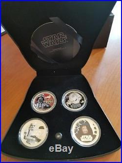 2011 Star Wars Proof Silver 4-Coin Set Dark Side Darth Vader NIUE