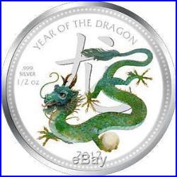 2012 Lunar Niue 1/2 oz Silver Pearl Dragon Coin in Egg Box Coa 8000 Mintage