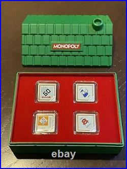 2013 Rcm Niue New Zealand Mint Monopoly 4 Piece Silver Coin Set House Display