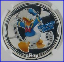 2014 NGC Proof 70 Ultra Cameo 1oz Silver $2 Niue Donald Duck Disney Coin w COA