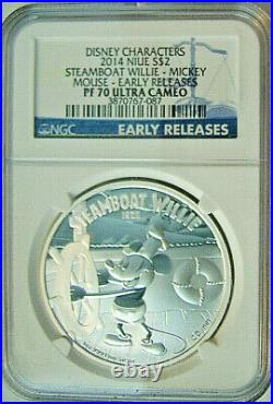 2014 Niue $2 Disney Mickey Mouse Steamboat Willie 1 Oz Silver Proof Ngc Pf70 Er