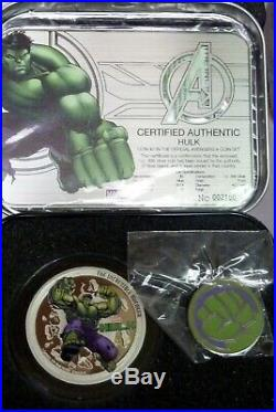 2014 Niue 4 Avengers. 999 1oz Silver Proof Coins in Metal Case 17558-1