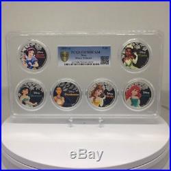 2015-16 Niue Silver Proof Disney PRINCESS 6 Coins in RARE Multi Holder PCGS PR70
