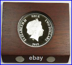 2015 $2 Niue Scrooge McDuck Silver 1 oz Proof Disney Coin Item #23244L