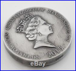 2015 $2 Niue Vikings King Cnut 2 oz Silver High Relief Coin Scottsdale Mint