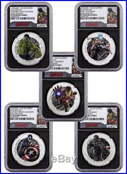 2015 Niue $2 1 Oz Silver Avengers 5-Coin NGC PF70 ER Capt COA Blk Core SKU37878