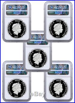 2015 Niue $2 1 Oz Silver Avengers Ultron 5-Coin NGC PF69 UC ER Capt COA SKU37864