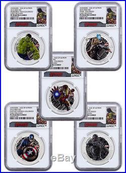 2015 Niue $2 1 Oz Silver Avengers Ultron 5-Coin NGC PF70 UC ER Capt COA SKU37872