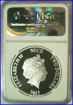 2015 Niue $2 Disney Characters SCROOGE McDUCK 1 Oz Silver NGC PF70 with OGP RARE