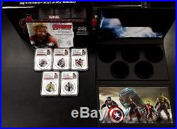 2015 Niue Avengers-Age of Ultron Five pc. $2.00 Color Proof Silver Coin Set