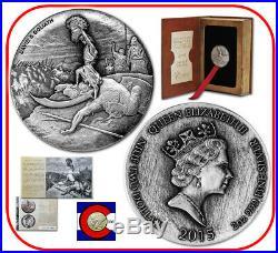 2015 Niue David & Goliath 2 oz Silver Coin with COA & packaging - Biblical Series