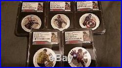 2015 Niue Silver Avengers Age of Ultron 5 Coin Set NGC UC PF70 ER