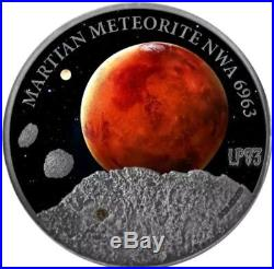 2016 1 Oz Silver MARS MARTIAN METEORITE $1 NWA 6963 Coin, Niue