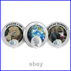 2016 Discovery Channel Endangered Species Africa 2 Coin Proof Silver Set Niue