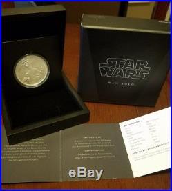 2016 Niue 1 oz. 999 Silver $2 Star Wars Han Solo coin/bullion (withBox & COA)