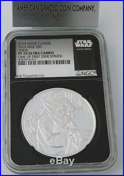 2016 Niue $2- 1 Oz Silver Star Wars YODA NGC PF70 One of First 2,500