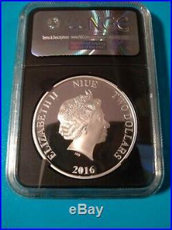 2016 Niue $2- 1 Oz Silver Star Wars YODA One of First 2,500 NGC PF70