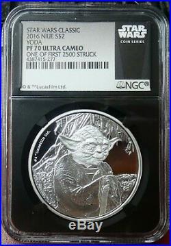 2016 Niue $2 Star Wars Yoda Proof 1 oz. 999 Silver Coin NGC PF 70 UCAM bce