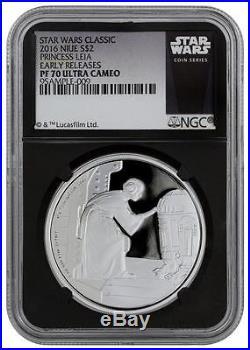 2016 Niue Silver $2 Star Wars Classic Princess Leia PF70 UC ER NGC Coin