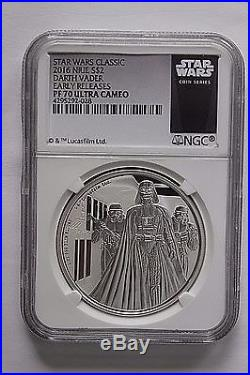 2016 Niue Star Wars DARTH VADER 1 oz Silver Proof $2 PF 70 UC First Release
