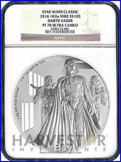 2016 Silver Star Wars Classic Darth Vader 1 Kilo Silver Coin Ngc Pf70 Ucam