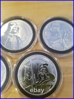2017,18,19,20 Niue Vader, Boba Fett Star Wars 1 oz. 999 Silver Coin 5 oz total