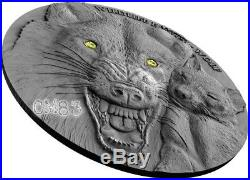 2017 1 Oz Silver WILDLIFE FAMILY WOLF Coin WITH Swarovski