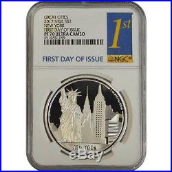 2017 New York Niue Great Cities NGC PF70 First Day Of Issue Proof Silver Coin