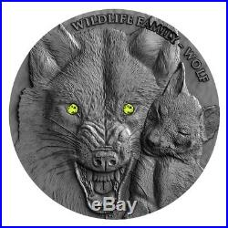 2017 Niue 1 Ounce Wildlife Family Wolf Ultra High Relief Silver Coin