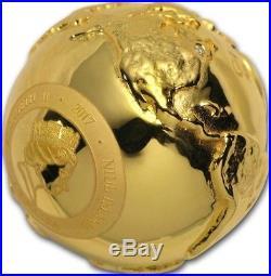 2017 Niue $2 WORLD DIAMOND FIRST 3D GLOBE SHAPE 2 Oz Silver Coin