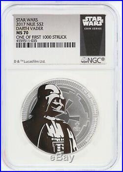 2017 Star Wars Darth Vader 1 oz Silver NGC MS70 One of 1000 Niue $2 Coin JJ188