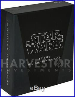 2017 Star Wars Ships Yt-1300 Millennium Falcon 1 Oz. Silver Coin Ogp Coa