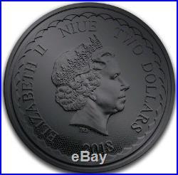 2018 $2 Niue BURNING DRAGONS Ruthenium 1 Oz Silver Coin