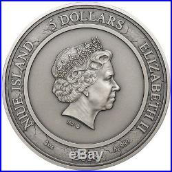 2018 2 Oz Silver $5 Niue CARPE DIEM Grim Reaper Hourglass, Antique Finish Coin