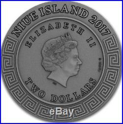 2018 2 Oz Silver Niue $2 PERSEUS Demigods Coin WITH Crystalline Silicon Insert