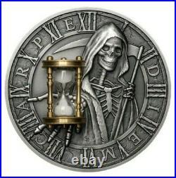 2018 2 Oz Silver Niue $5 Grim Reaper CARPE DIEM Hourglass Coin