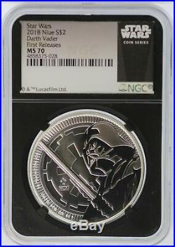 2018 Darth Vader 1 oz Silver NGC MS70 $2 Niue Star Wars Coin Black Core JD784