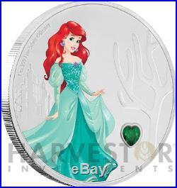 2018 Disney Princess With Gemstone Ariel 1 Oz. Silver Coin Ogp Coa 3rd