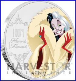 2018 Disney Villains Cruella De VIL 1 Oz. Silver Coin Ogp Coa 3rd In Set