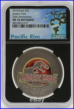 2018 Jurassic Park 1 oz Silver Antiqued NGC MS70 Niue $2 Coin 25th Ann JC861