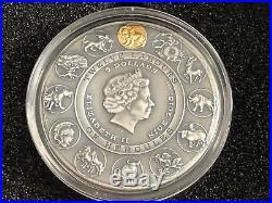 2018 Nemean Lion TWELVE LABOURS OF HERCULES 2 Oz Silver Coin Niue $5 withGold