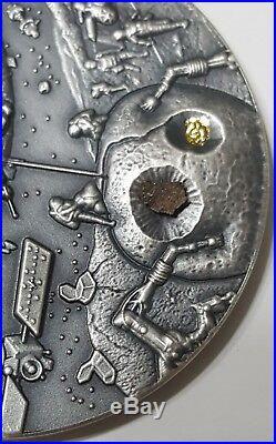 2018 Niue $1 SPACE MINING Chondrite Meteorite 1 Oz Silver Coin