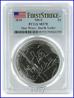 2018 Niue 1oz Silver Star Wars Darth Vader Coin PCGS MS70 First Strike