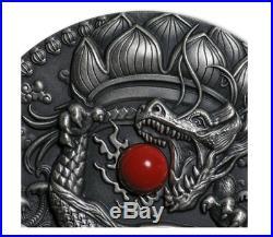 2018 Niue 2$ 2 Oz Silver Coin CHINESE DRAGON Coral Dragons