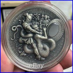 2018 Niue Demigods Perseus Medusa 2 oz Silver Coin with Hematite OGP 650 Made