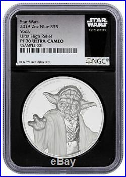 2018 Niue Star Wars Yoda UHR 2oz Silver Proof $5 Coin NGC PF70 UC Black SKU55872