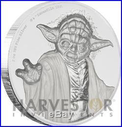 2018 Star Wars Yoda Ultra High Relief 2 Oz. Silver Coin Niue With Ogpo Coa